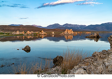 View of Mono Lake in California's Eastern Sierra Nevada. Extra sky in photo for copyspace