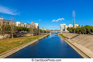 View of Montpellier over the river Lez - France