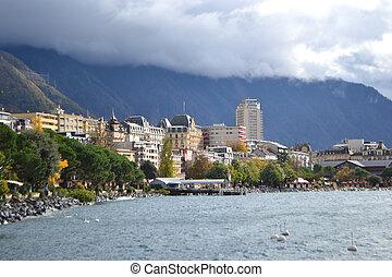 View of Montreux, Geneva lake, Switzerland.