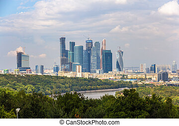 View of Moscow-City from Sparrow Hills park