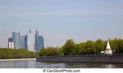 View of Moscow from the deck of the walking motor ship in the summer