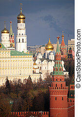 View of Moscow Kremlin and belfry of Ivan the Great