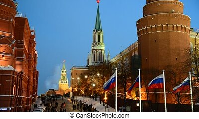 View of  Moscow Kremlin at night in winter, Russia