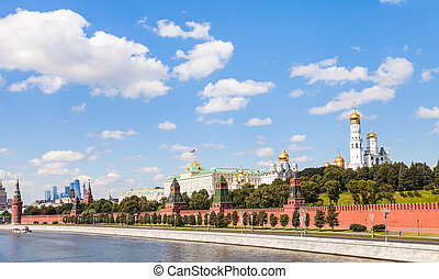 view of Moscow Kremlin from Moskva River in summer