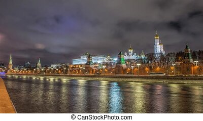 View of Moscow Kremlin in winter night. Russia