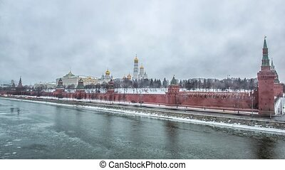 View of Moscow Kremlin in winter. Russia