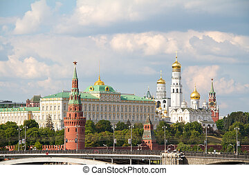 View of Moscow Kremlin with golden domes and Spasskaya tower
