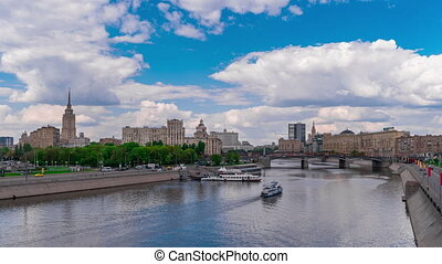 View of Moskva River and promenade on summer day, timelapse...