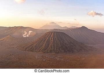 Mount Bromo and Batok - View of Mount Bromo and Batok during...