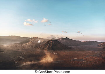 View of Mount Bromo and Batok during Sunrise in Bromo ...