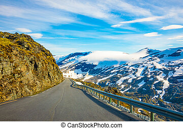 View of mountain and road to Dalsnibba, spring landscape, Norway
