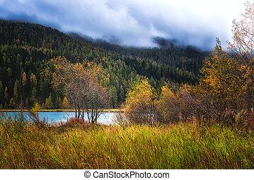 View of mountain lake