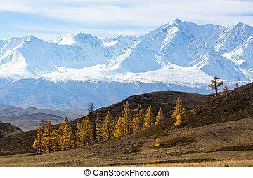 View of mountain North-Chuya ridge of Altai Republic, Russia.