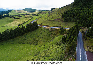 View of mountain road on Sao Miguel island, Azores - Portugal.