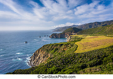View of mountains along the Pacific Coast, in Big Sur, California.