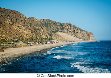 View of mountains and the Pacific Ocean, in Malibu, California.