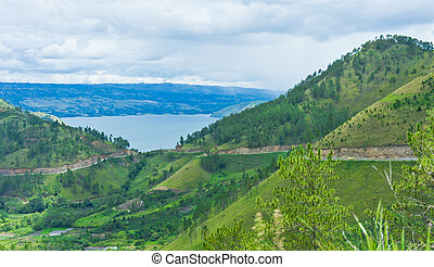 View of mountains in Sumatra and Lake Toba, Indonesia,...