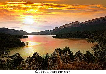 mountains lake in sunset