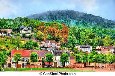 View of Moyenmoutier, a town in the Vosges Mountains - France