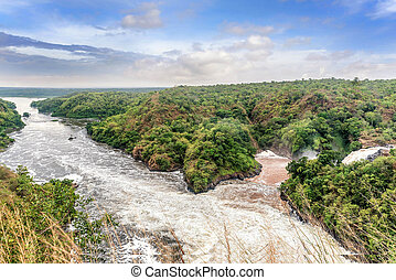 View of Murchison Falls on the Victoria Nile river National Park, Uganda
