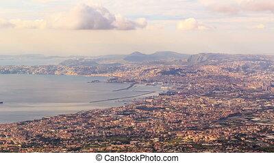 View of Naples with Vesuvius volcano. Naples, Italy. Time Lapse