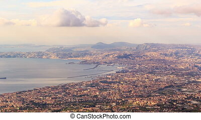 View of Naples with Vesuvius. Naples, Italy. Time Lapse