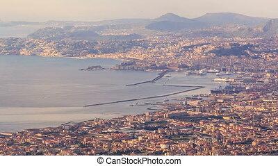 View of Naples with Vesuvius. Naples, Italy. Time Lapse