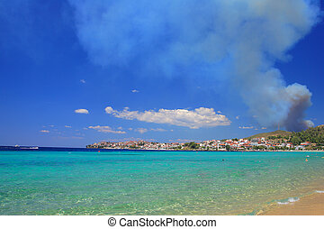 View of Neos Marmaras - Fire in Greece - View of Neos...
