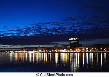 View of Neva river at night, St.Petersburg, Russia