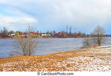 View of Neva river at spring day.