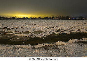 View of Neva River at winter evening.