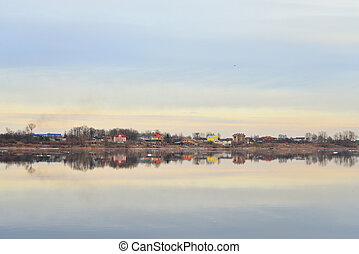 View of Neva River. - View of Neva River at cloud spring ...