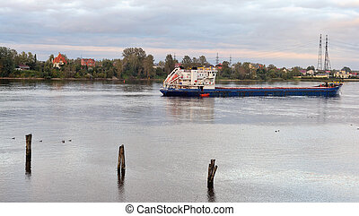 View of Neva river. - View of Neva river at evening, ...