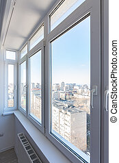 View of new plastic windows in the apartment