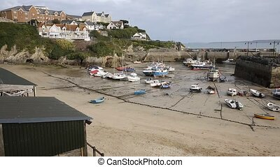 View of Newquay harbour Cornwall - Newquay harbour North...