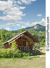 View of nice bamboo hut in summer e