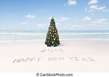 Tropical beach christmas and new year background. Merry christmas ...