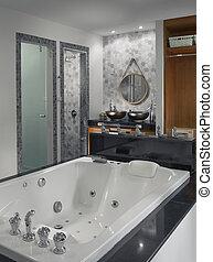 view of nice modern style grey color bathroom interior