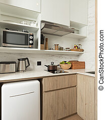 view of nice photography studio contemporary kitchen set