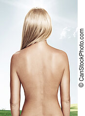 back - View of nice young wonam back on color back