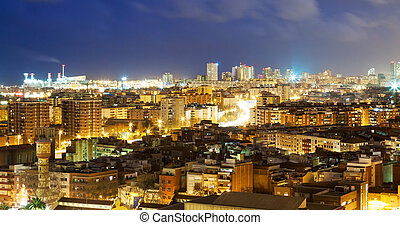 view of night city. Barcelona