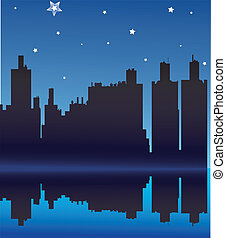 View of night city. Vector illustration