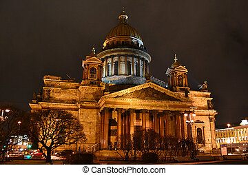 View of night St. Petersburg. Saint Isaac's Cathedral