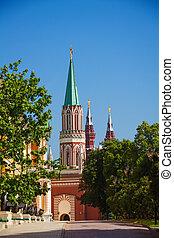View of Nikolskaya tower from Kremlin in Moscow