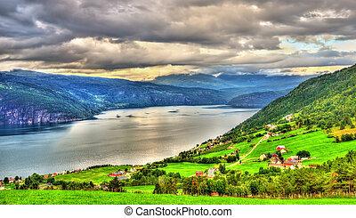 View of Nordfjorden fjord near Utvik in Norway