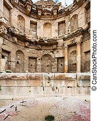 view of nymphaeum in Jerash (ancient Gerasa) town