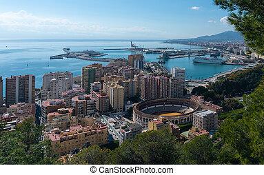 View of ocean harbor in Malaga, Spain
