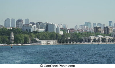 View of of Dolmabahce Palace, Istanbul, Turkey from ship in...