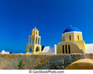 View of Oia village in Santorini island. Greece