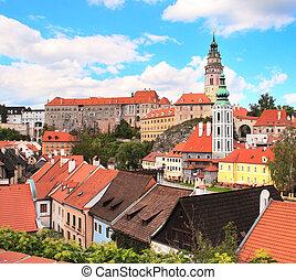 View of old Bohemian city Cesky Krumlov, Czech Republic